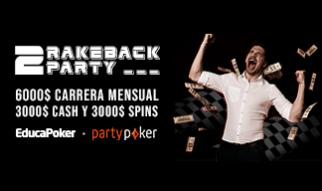 """Gana hasta 1.000 $ con """"2 Rakeback Party"""" febrero'21 de EducaPoker y partypoker"""
